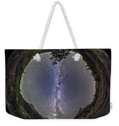 Fish-eye Panorama Of Milky Way Over Red Weekender Tote Bag