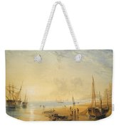 Fisherfolk On The Shore Near Dover At Sunset Weekender Tote Bag
