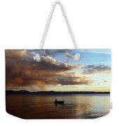 Fisherman At Sunset On Lake Titicaca Weekender Tote Bag