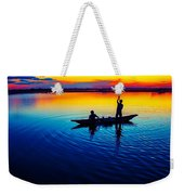 Fisherman Boat On Summer Sunset, Travel Photo Poster Weekender Tote Bag