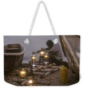 Fisherman Prepares Lanterns For Night Weekender Tote Bag