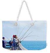 Fishermen On Commercial Pier In Monterey-california  Weekender Tote Bag