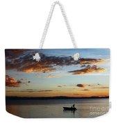 Fishing At Sunset On Lake Titicaca Weekender Tote Bag