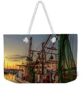 Fishing Boat At Sunset Weekender Tote Bag