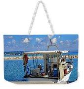 Fishing Boat Moored In The Harbor Of Katakolon Greece Weekender Tote Bag