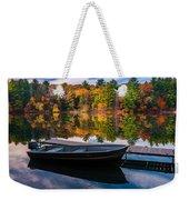 Fishing Boat On Mirror Lake Weekender Tote Bag