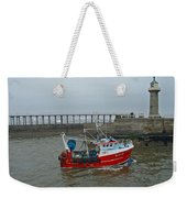 Fishing Boat Wy110 Emulater - Entering Whitby Harbour Weekender Tote Bag