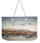 Fishing Boats And Blue Herons Weekender Tote Bag