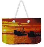 Fishing Boats At Sunset Weekender Tote Bag