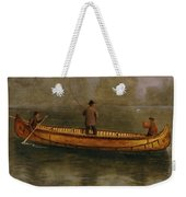 Fishing From A Canoe Weekender Tote Bag by Albert Bierstadt