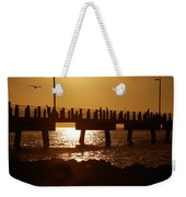 Fishing Off The Pier At Fort De Soto At Dusk Weekender Tote Bag
