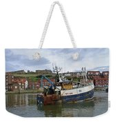 Fishing Trawler Wy 485 At Whitby Weekender Tote Bag by Rod Johnson