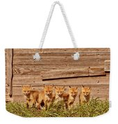 Five Fox Kits By Old Saskatchewan Granary Weekender Tote Bag