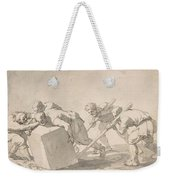 Five Men Pushing A Block Of Stone Weekender Tote Bag