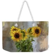 Five Sunflowers Centered Weekender Tote Bag by Lois Bryan