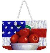 Flag And Apples Weekender Tote Bag