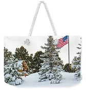 Flag And Snowy Pines Weekender Tote Bag
