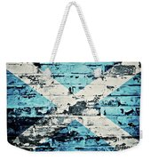 flag of Scotland painted on old brick wall Weekender Tote Bag