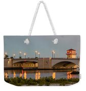 Flagler Bridge In Lights Panorama Weekender Tote Bag