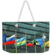Flags Of Various Nations Outside The United Nations Building. Weekender Tote Bag