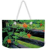 Flame Azalea And Fence Weekender Tote Bag