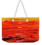 Flaming Sunset Abstract 205173 Weekender Tote Bag by Mas Art Studio