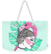 Flamingo Girl Weekender Tote Bag
