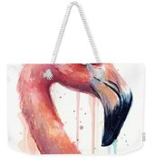 Flamingo Painting Watercolor - Facing Right Weekender Tote Bag