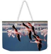 Flamingos In Flight-signed Weekender Tote Bag