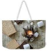 Flat Lay Camp Fire S'mores Deconstructed Weekender Tote Bag