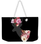 Floral Deer On Black Weekender Tote Bag
