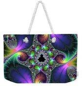 Floral Fractal Art Jewel Tones Vertical Weekender Tote Bag