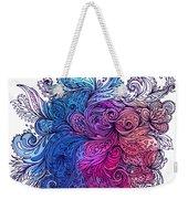 Blue Floral Indian Pattern Weekender Tote Bag