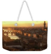Florence And The Ponte Vecchio Dusk, Tuscany, Italy Weekender Tote Bag
