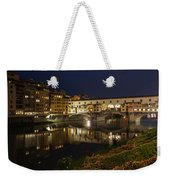 Florence Italy Night Magic - A Glamorous Evening At Ponte Vecchio Weekender Tote Bag