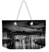 Florence Ponte Vecchio At Sunset Monochrome Weekender Tote Bag