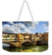 Florence -  Ponte Vecchio From The Northwestern Bank - Vintage Weekender Tote Bag