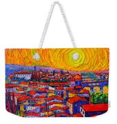 Florence Sunset 10 Modern Impressionist Abstract City Knife Oil Painting Ana Maria Edulescu Weekender Tote Bag