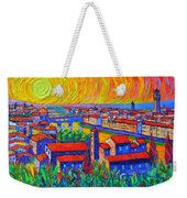 Florence Sunset 4 Modern Impressionist Abstract City Impasto Knife Oil Painting Ana Maria Edulescu Weekender Tote Bag