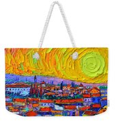 Florence Sunset 5 Modern Impressionist Abstract City Impasto Knife Oil Painting Ana Maria Edulescu Weekender Tote Bag