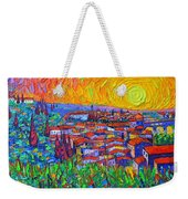 Florence Sunset 7 Modern Impressionist Abstract City Impasto Knife Oil Painting Ana Maria Edulescu Weekender Tote Bag