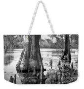 Florida Cypress, Hillsborough River, Fl In Black And White Weekender Tote Bag