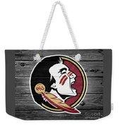 Florida State University Seminoles Logo On Weathered Wood Weekender Tote Bag