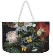 Flower And A Delphinium In A Glass Vase Weekender Tote Bag