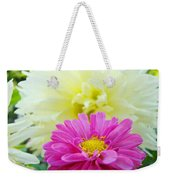 Flower Art Print White Pink Dahlia Floral Canvas Baslee Troutman Weekender Tote Bag