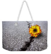 Flower In Asphalt Weekender Tote Bag
