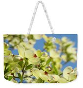 Flowering Dogwood Tree Art Print White Dogwood Flowers Blue Sky Art Weekender Tote Bag