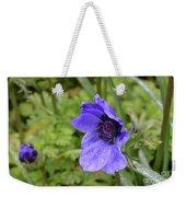 Flowering Purple Anemone Flower Blossom In A Garden Weekender Tote Bag