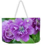 Flowering Purple Tulips With Raindrops From A Spring Rain Weekender Tote Bag