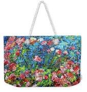 Flowering Shrub In Pink On Bright Blue 201676 Weekender Tote Bag